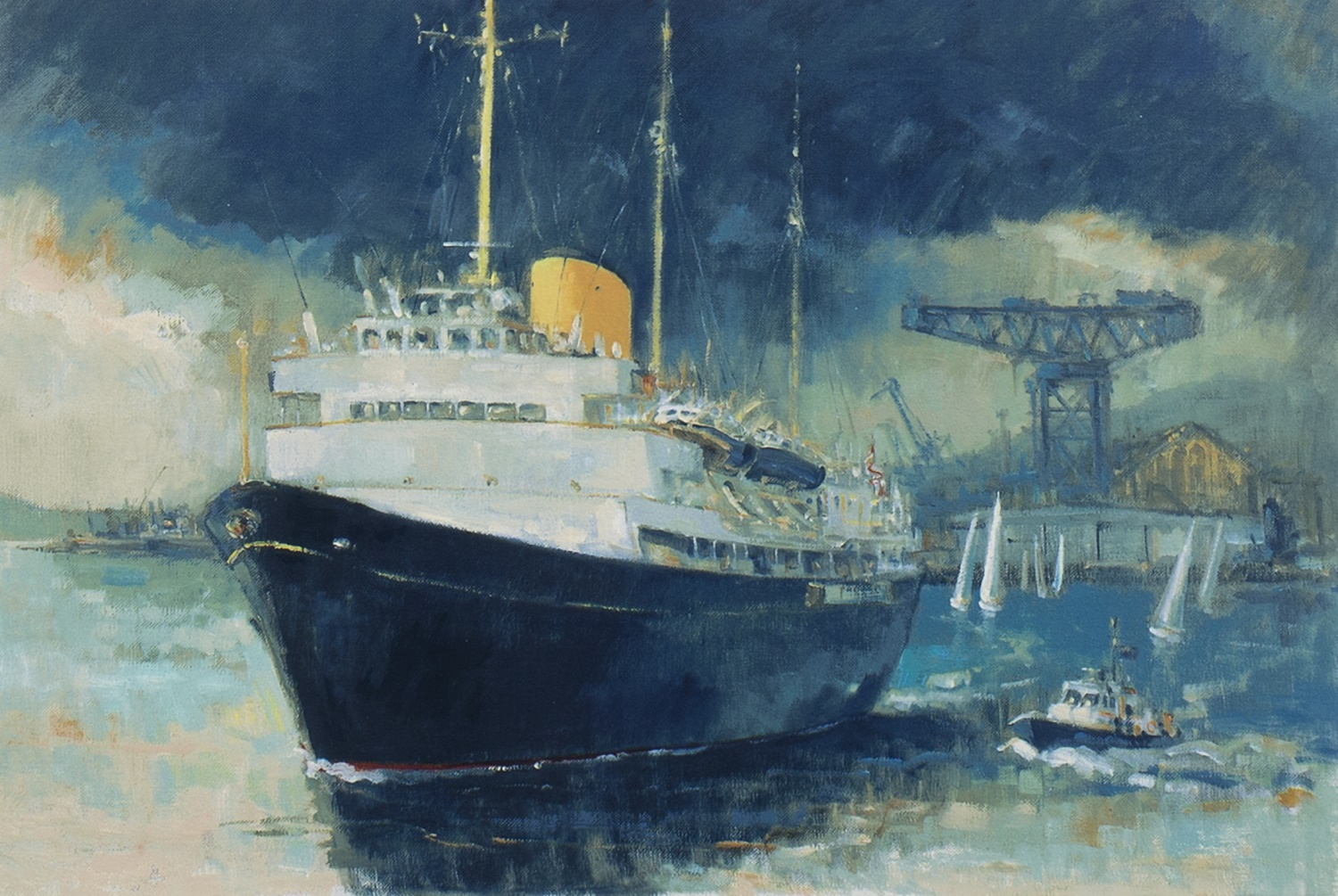 BRITANNIA, FAREWELL TO THE CLYDE, A SIGNED LIMITED EDITION PRINT BY JAMES WATT - Image 2 of 2