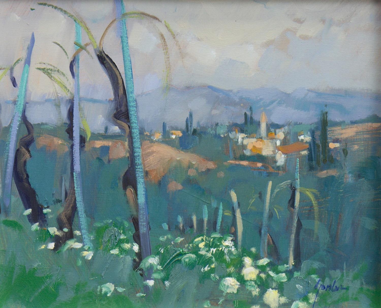 LANDSCAPE, AN OIL BY ANNE GORDON - Image 2 of 2