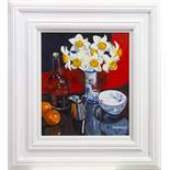 SPRING FLOWER STUDY, AN OIL BY FRANK COLCLOUGH