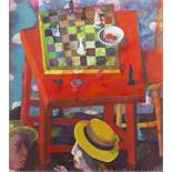 STILL LIFE WITH CHESS, AN OIL BY ANDREI BLUDOV