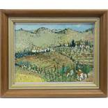 TUSCAN LANDSCAPE, NEBBIANA, AN OIL BY CARLO ROSSI