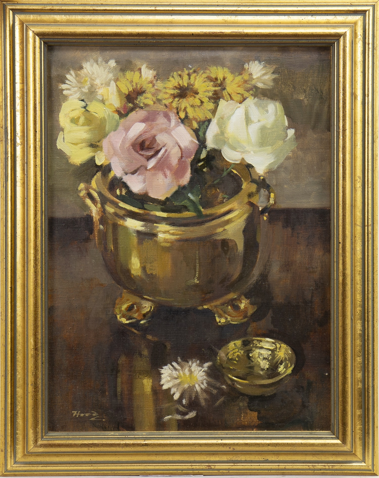 ROSES AND CHRYSANTHEMUMS, AN OIL BY ERNEST HOOD