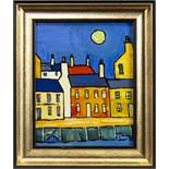 PORT BANNATYNE IN MOONLIGHT, AN OIL BY IAIN CARBY