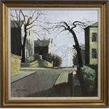 GIBSON STREET, HILLHEAD, GLASGOW, AN OIL BY JOHN KINGSLEY