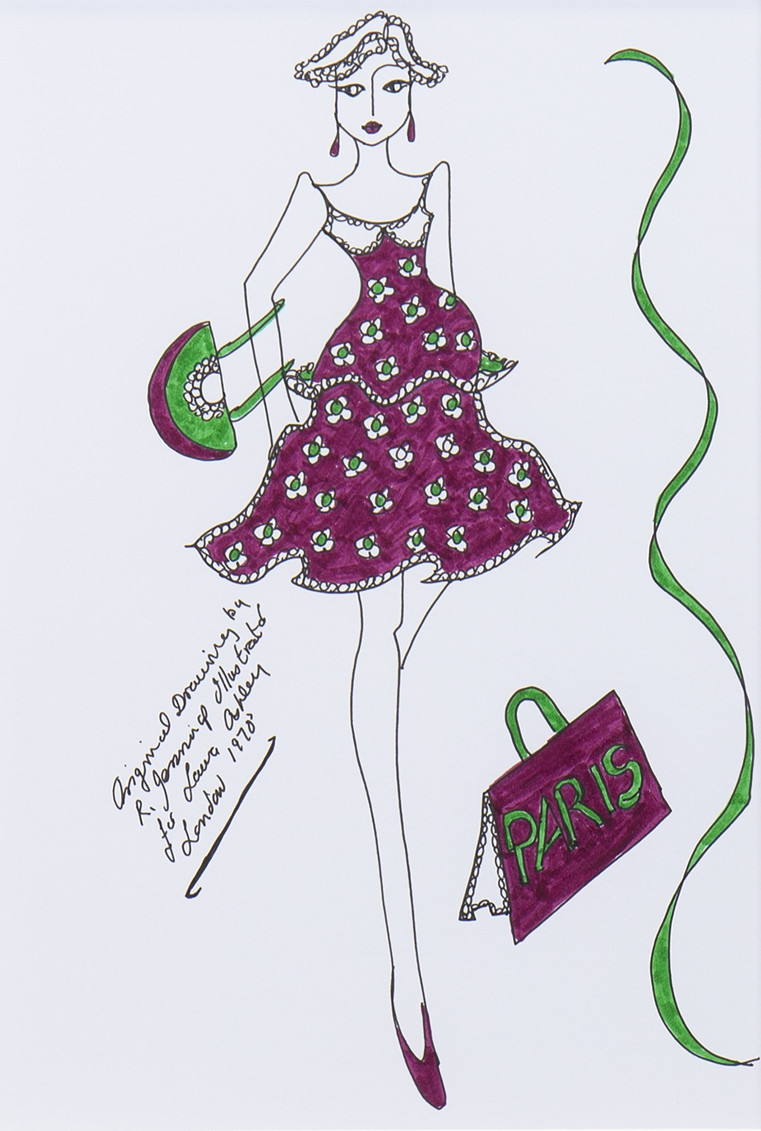 ORIGINAL ILLUSTRATION OF DESIGNS FOR LAURA ASHLEY, BY ROZ JENNINGS - Image 2 of 2
