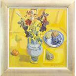 YELLOW STILL LIFE, AN OIL BY CATRIONA CAMPBELL