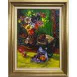 STILL LIFE WITH GREEN CLOTH, AN OIL BY MARY ARMOUR
