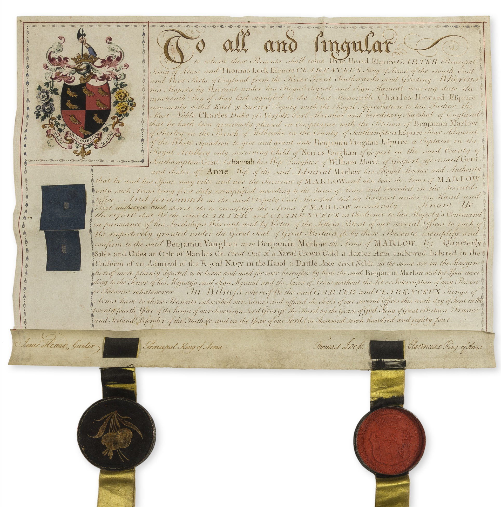 Lot 131 - Heraldry.- Heard (Isaac) Grant of arms to Benjamin Vaughan and licence to use the surname Marlow, …