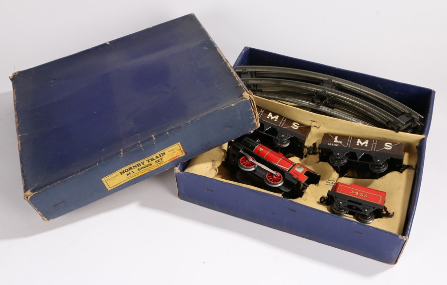 Lot 15 - Hornby Trains M1 goods set, O gauge, consisting of M1 Engine, tender numbered 3435, two LMS wagons