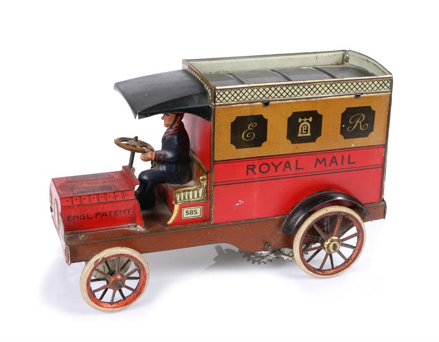 Lot 11 - Lehmann 585 clockwork tinplate Royal Mail van, the van finished in red and brown, open drivers