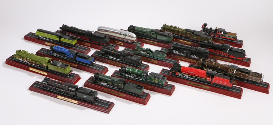 Lot 39 - Twenty locomotive legends series model trains, including the Flying Scotsman, together with