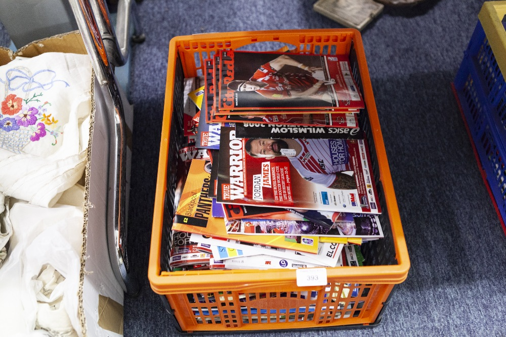 Lot 393 - ONE BOX OF PROGRAMMES MAINLY RUGBY LEAGUE, AND SOME CRICKET PROGRAMMES (APPROX 170)