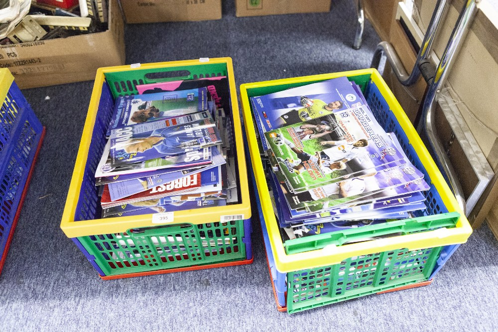 Lot 395 - TWO BOXES OF FOOTBALL LEAGUE PROGRAMMES, VARIOUS FROM THE LATE 90's TO INCLUDE; CARDIFF CITY,