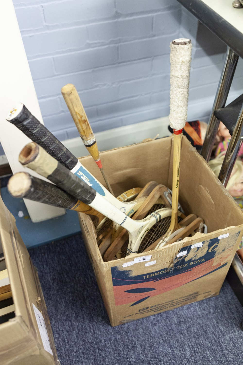 Lot 260 - THREE SLAZENGER WOODEN TENNIS RACKETS AND A SQUASH RACKET AND A BADMINTON RACKET (5)