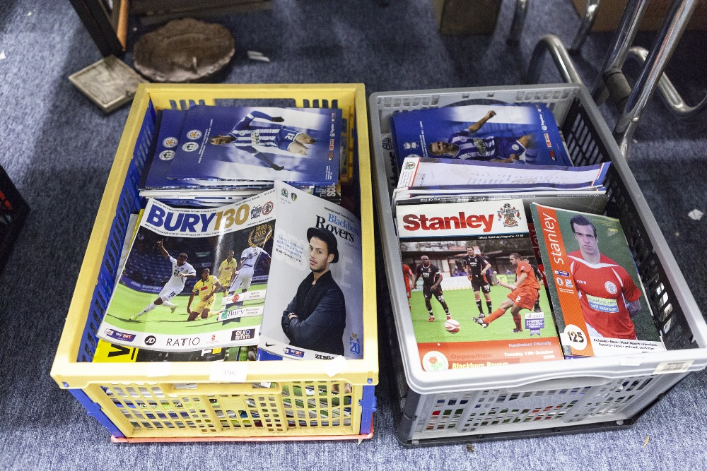 Lot 396 - TWO BOXES OF FOOTBALL LEAGUE PROGRAMMES TO INCLUDE; WATFORD, WIGAN, BLACKBURN, BLACKPOOL,