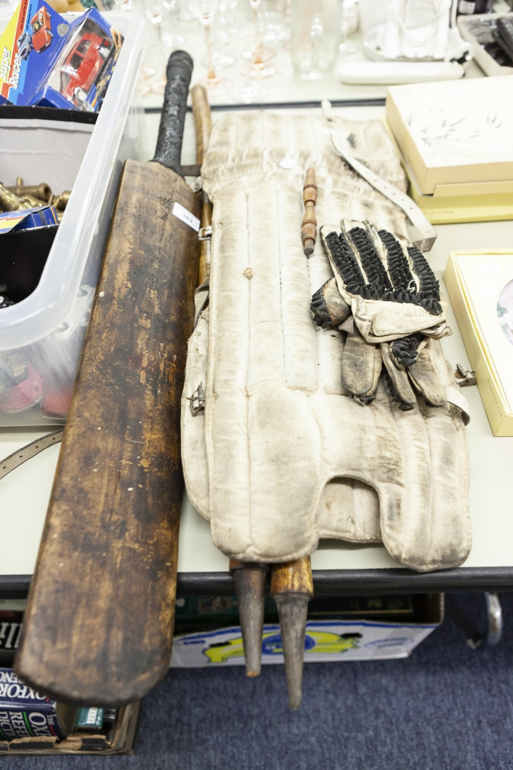 Lot 383 - WARSOP AND HENDREN - POST WAR AUTOGRAPHED CRICKET BAT, in well used condition, TOGETHER WITH A SET
