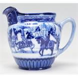 A Royal Doulton Eglinton Tournament jug having transfer printed blue and white decoration