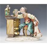A 20th CenturyCapodimonte figural group by Tiziano Galli, the figural group modelled as an old