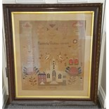 Antique Vintage Large Lancashire Sampler c1851 Isobel Collins Scotch Church
