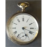 Antique Vintage French Continetal Silver Remontoir & Rubis Pocket Watch Hallmarked 800