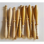 10 Vintage Wooden Lace Bobbins 7cm to 10cm long NO RESERVE