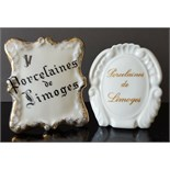 3 x Vintage Limoges Items Wall Pocket and Display Signs Early to Mid 20th Century NO RESERVE