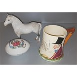 Vintage Retro Crown Devon John Peel Musical Jug, Wedgwood Bunnykins Egg & Beswick Welsh M