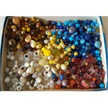 Vintage Retro Tray of Assorted Beads Used in Craft Work or Lace Making NO RESERVE