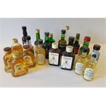 Parcel 20 Collectable Miniature Whisky, Port, Brandy & Others Bottles & Contents.