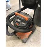 RIDGID 16-GALLON SHOP VAC 6.5 HP, AND GARBAGE CAN WITH BROOMS, GUEST PANS, SQUEEGEES