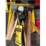 BIN OF ASSORTED MALLETS AND HAMMERS