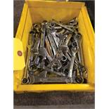 BIN OF ASSORTED WRENCHES