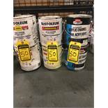 (6) - 1 GALLON CANS OF RUST-OLIEUM DTM ALKYD ENAMEL AND (3) KRYLON 1 GALLON CANS OF ACRYLIC ENAMEL