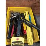 BIN OF ASSORTED SNIPPERS AND PLIERS