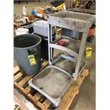 SKID WITH GARBAGE CANS AND CLEANING CART