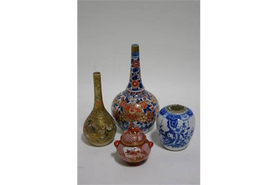 A Japanese Imari Bottle Vase With Tall Narrow Neck 7 High A