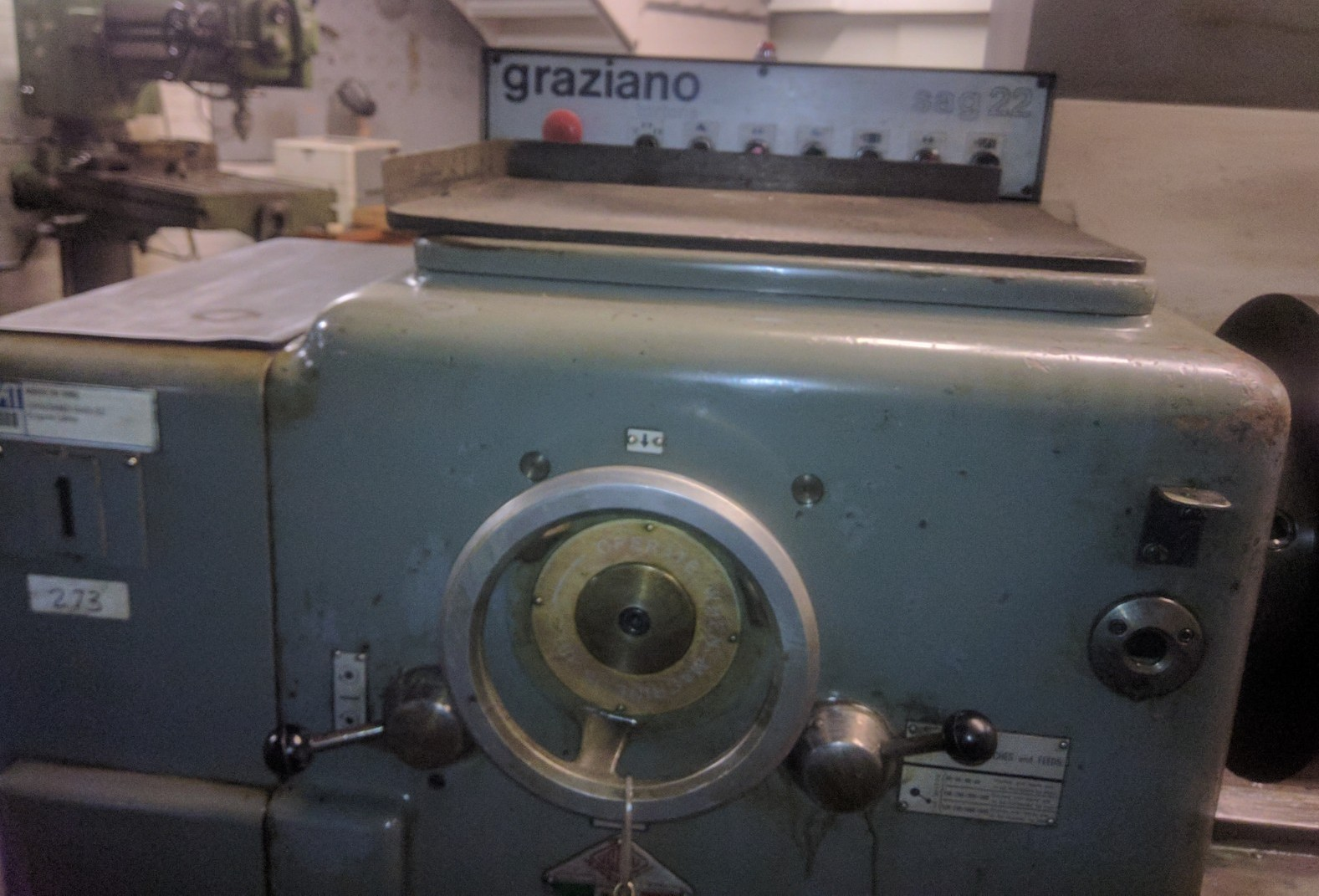 """Lot 21 - GRAZIANO SAG 22 ENGINE LATHE WITH 24"""" SWING OVER BED, 72"""" BETWEEN CENTRES"""