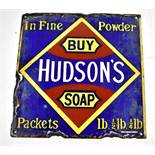 An original enamel advertising sign inscribed 'Buy Hudson's Soap, in fine powder', 31 x 30cm.