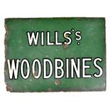 An original enamel advertising sign inscribed 'Wills Woodbines', 30 x 41.5cm.