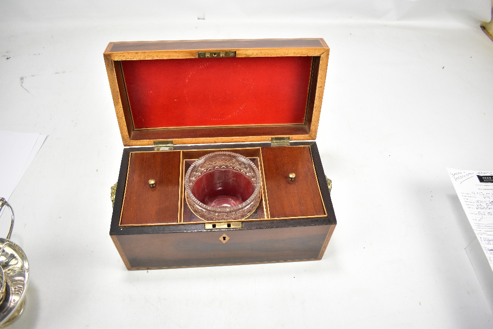 A Regency rosewood, cross banded inlaid rectangular tea caddy with twin lion mask and loop - Image 2 of 2