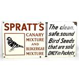 An original enamel advertising sign inscribed 'Spratts Canary Mixture & Budgerigar Mixture, The