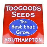 An enamel advertising sign inscribed 'Toogoods Seeds, The Best That Grow. Southampton', 76 x 76cm.