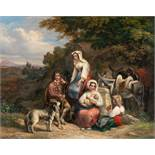 """Ludwig VogelRast in der CampagnaÖl auf Leinwand. (Um 1840). 49,5 x 62 cm. Signiert, mit """"18"""" datiert"""