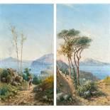 Achille SolariPendants: Blick auf Neapel –Blick auf CapriÖl auf Holz. Je 33 x 17,7 cm. Signiert