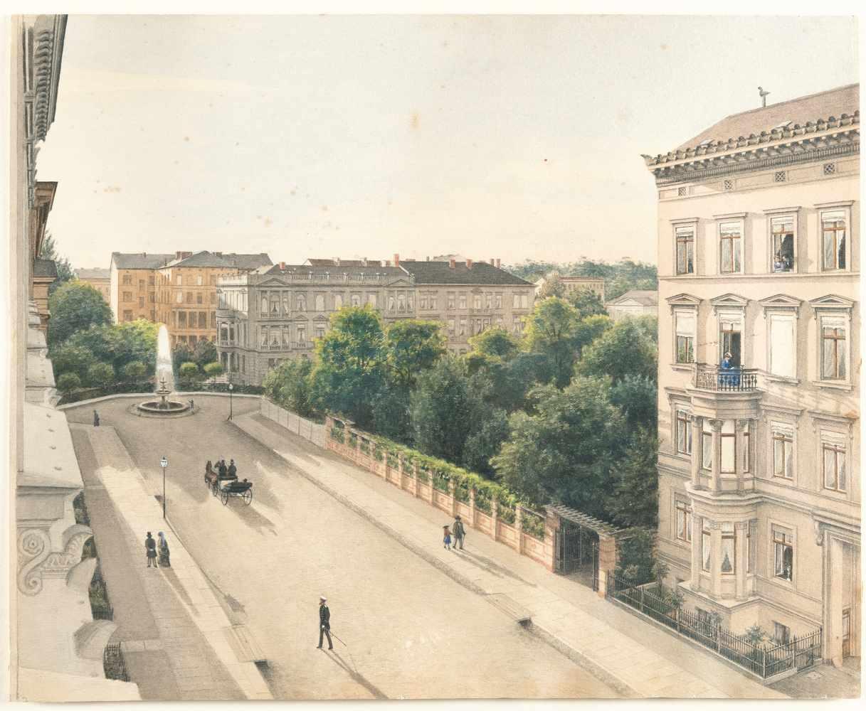 BerlinAdolph Menzels Wohnhaus in der Sigismundstraße in BerlinAquarell, weiß gehöht auf Velin. (Um - Bild 2 aus 3