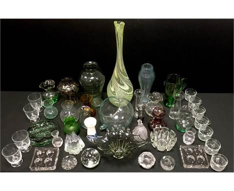 Decorative glass - Dartington paperweight; Nybro vase; Royal Crystal Rock figure; Art Glass vases; etc