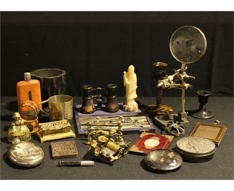 Boxes & Objects - an Aesthetic Movement silver plated hip flask; an adjustable desk top magnifying glass; a set of drafts