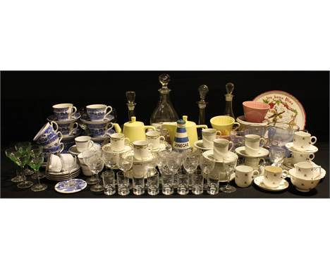 Ceramics and Glass - a Royal Doulton Berkshire pattern coffee set for six; a Staffordshire Willow pattern tea set; a Boots es