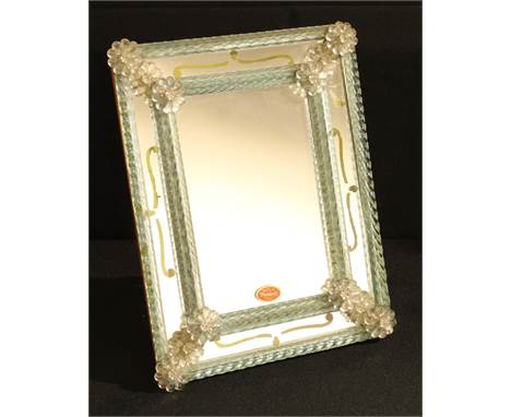 A mid 20th century Murano glass vanity mirror, easel back, 32cm x 24cm