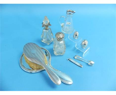 A mixed collection of Silver Items, including silver backed hand mirror and hairbrush, two silver mounted cut glass scent bot